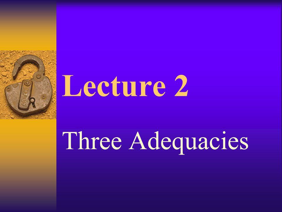 Lecture 2 Three Adequacies