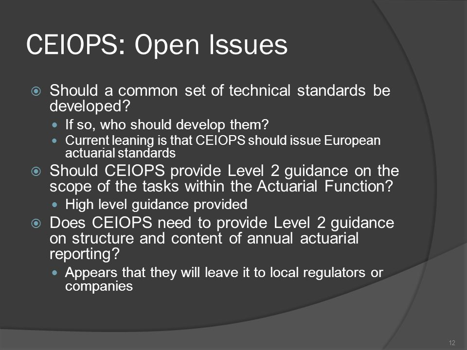 CEIOPS: Open Issues  Should a common set of technical standards be developed.