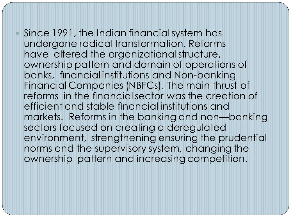 Narasimham Committee Report on Banking Sector Reforms The United Front Government appointed Narasimham committee to review the progress of reforms in the banking sector.