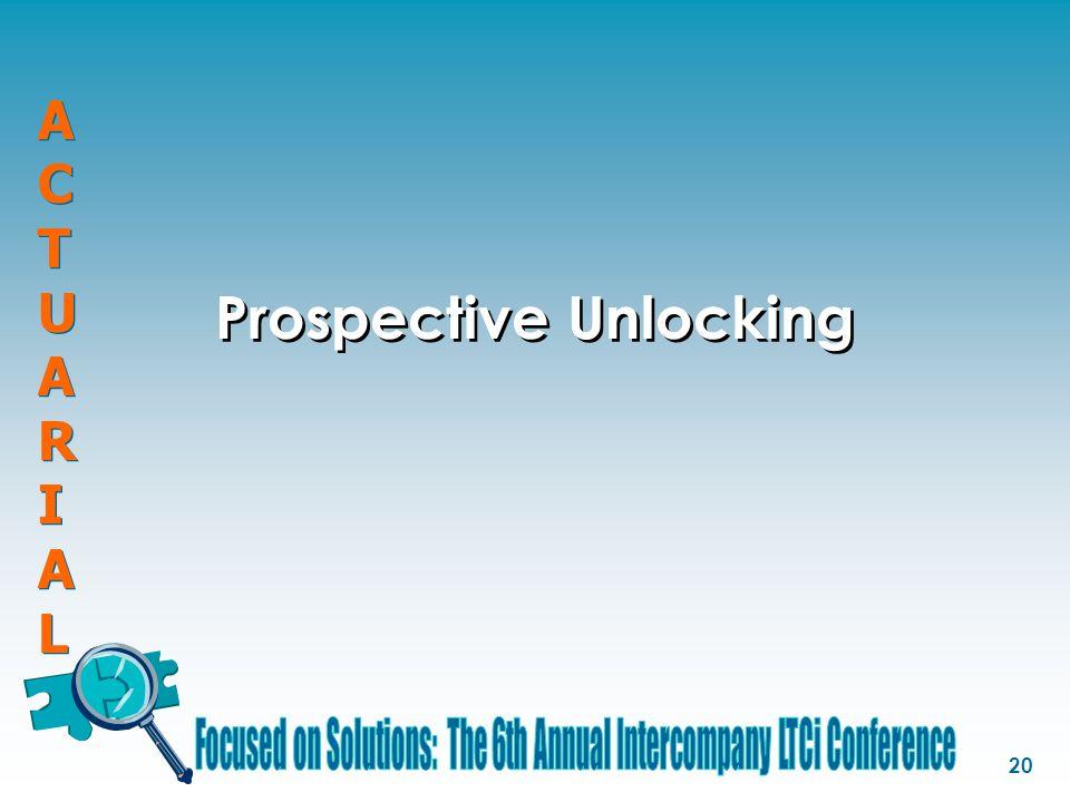 ACTUARIALACTUARIAL ACTUARIALACTUARIAL 20 Prospective Unlocking