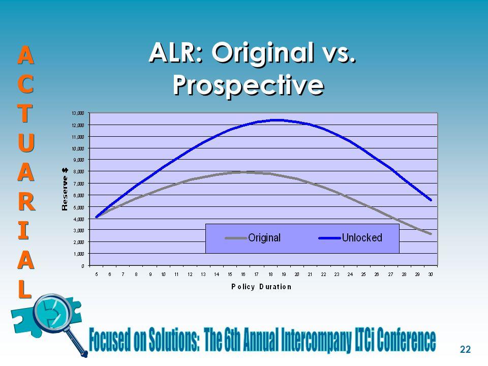 ACTUARIALACTUARIAL ACTUARIALACTUARIAL 22 ALR: Original vs. Prospective
