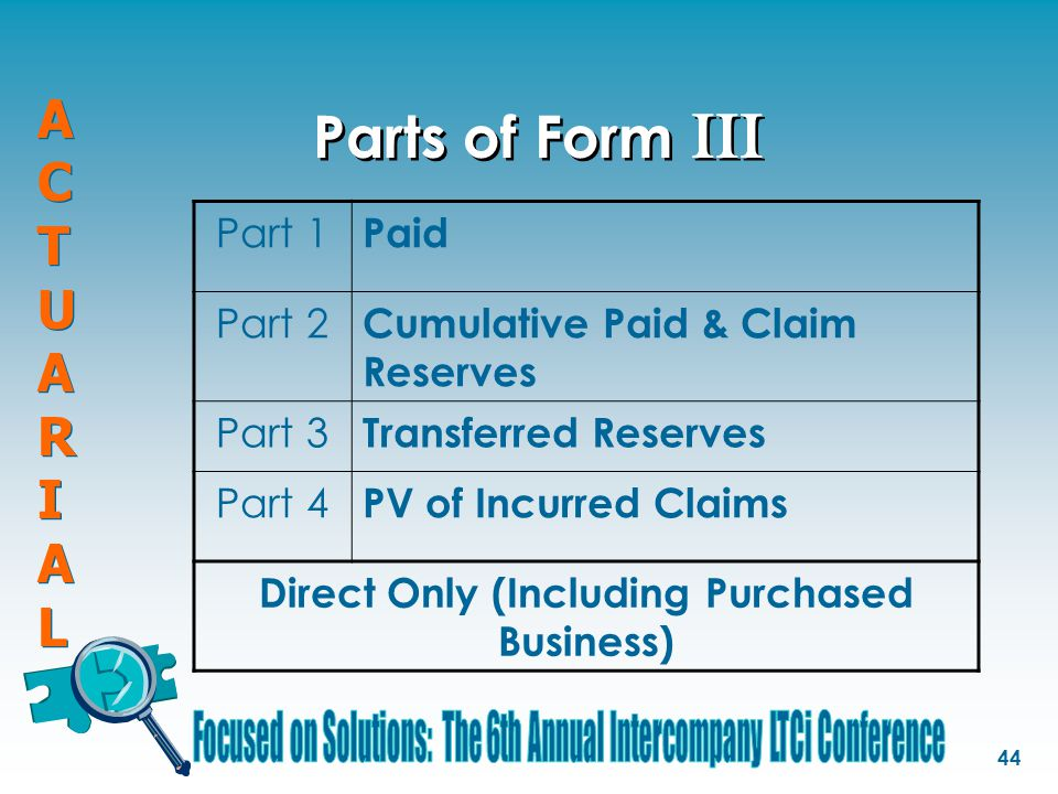 ACTUARIALACTUARIAL ACTUARIALACTUARIAL 44 Parts of Form III Part 1 Paid Part 2 Cumulative Paid & Claim Reserves Part 3 Transferred Reserves Part 4 PV of Incurred Claims Direct Only (Including Purchased Business)