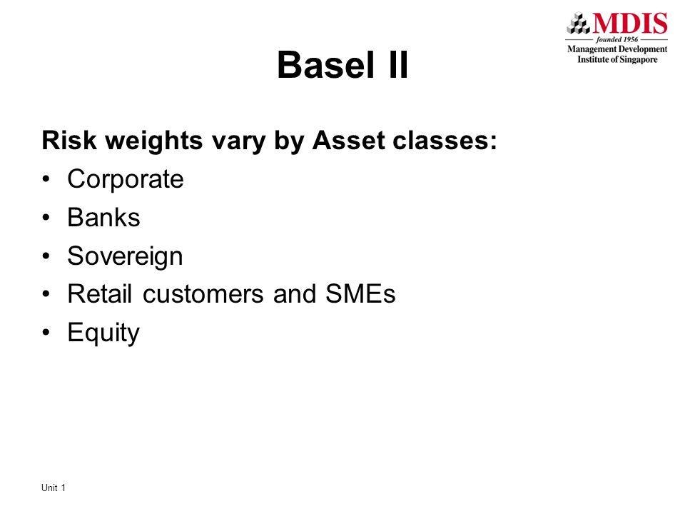 Basel II Risk weights vary by Asset classes: Corporate Banks Sovereign Retail customers and SMEs Equity Unit 1