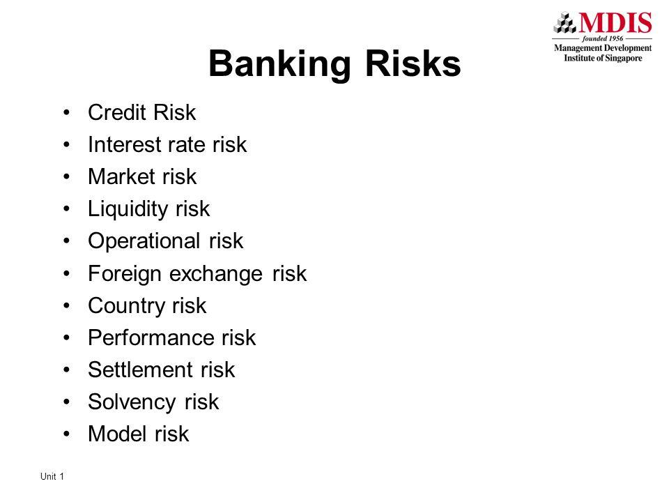 Banking Risks Credit Risk Interest rate risk Market risk Liquidity risk Operational risk Foreign exchange risk Country risk Performance risk Settlement risk Solvency risk Model risk Unit 1