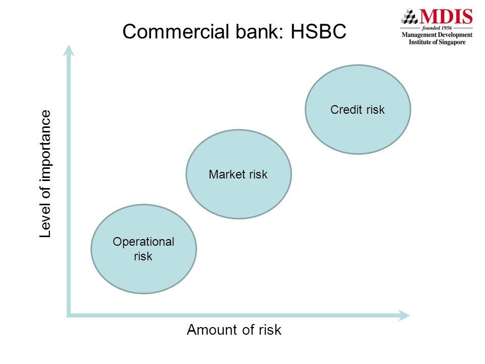 Credit risk Level of importance Commercial bank: HSBC Amount of risk Market risk Operational risk