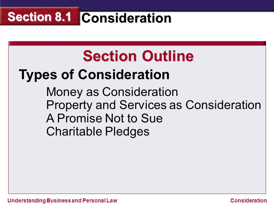 Understanding Business and Personal Law Consideration Section 8.1 Consideration Reviewing What You Learned Exchange or the promise to exchange things of value in a contract; binds parties to each other in the contractual relationship.