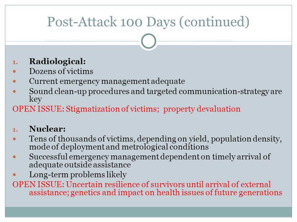 Post-Attack 100 Days (continued) ‏ 1.