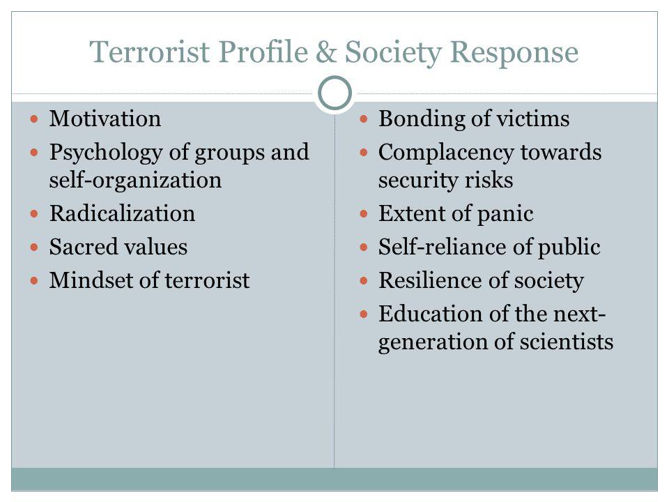Terrorist Profile & Society Response Motivation Psychology of groups and self-organization Radicalization Sacred values Mindset of terrorist Bonding o