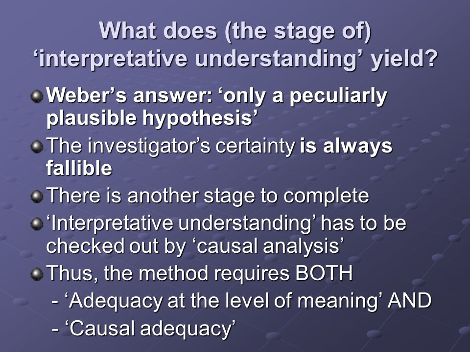What does (the stage of) 'interpretative understanding' yield.