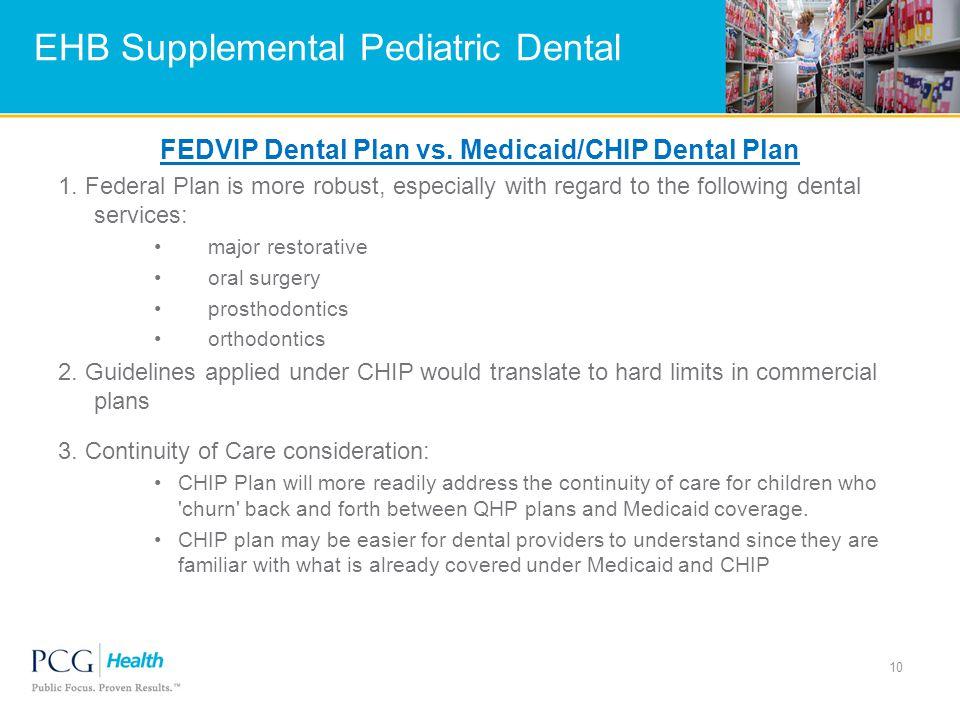 EHB Supplemental Pediatric Dental FEDVIP Dental Plan vs.