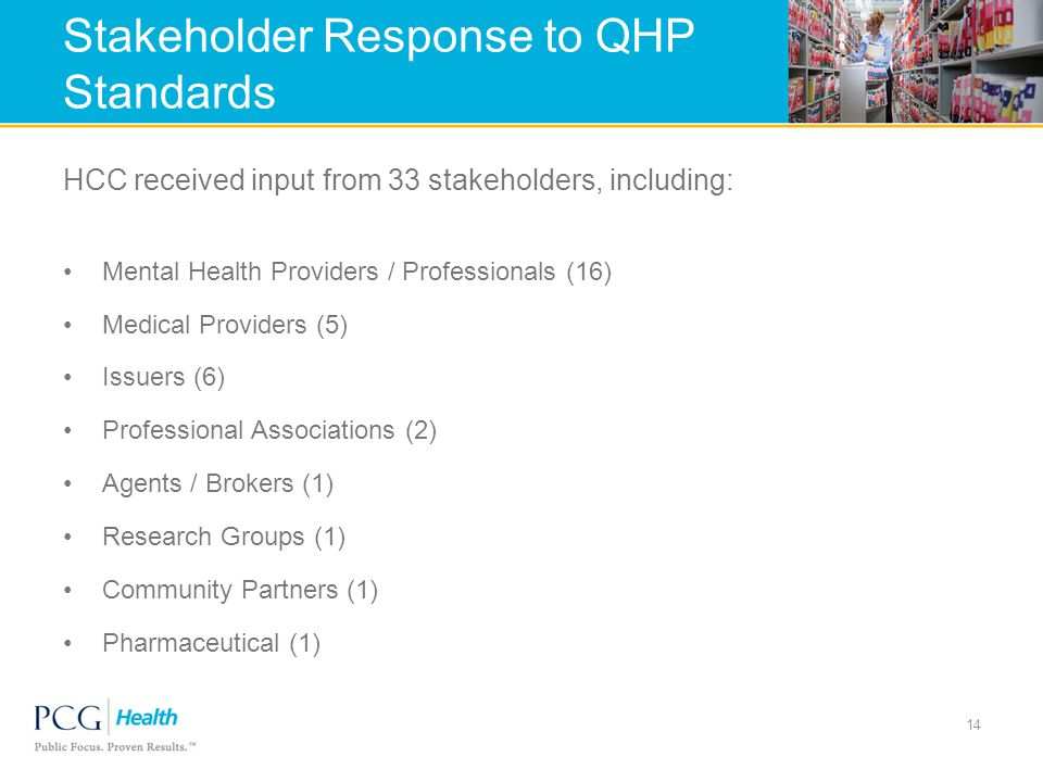 Stakeholder Response to QHP Standards HCC received input from 33 stakeholders, including: Mental Health Providers / Professionals (16) Medical Providers (5) Issuers (6) Professional Associations (2) Agents / Brokers (1) Research Groups (1) Community Partners (1) Pharmaceutical (1) 14