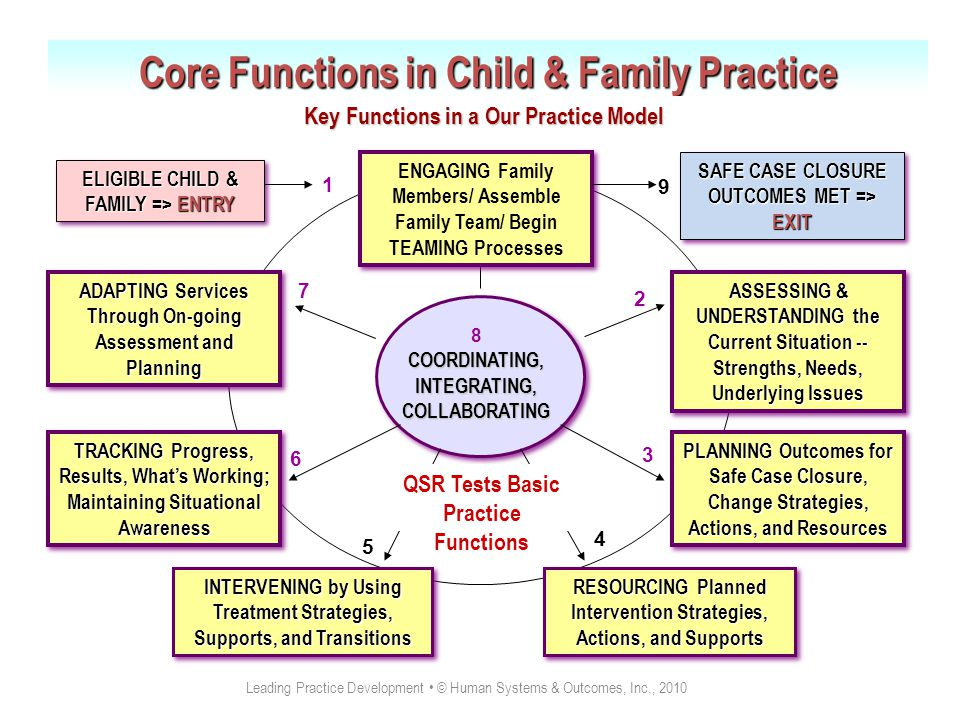 8 COORDINATING, INTEGRATING, COLLABORATING Core Functions in Child & Family Practice 1 3 4 5 6 7 2 ENGAGING Family Members/ Assemble Family Team/ Begin TEAMING Processes ASSESSING & UNDERSTANDING the Current Situation -- Strengths, Needs, Underlying Issues PLANNING Outcomes for Safe Case Closure, Change Strategies, Actions, and Resources RESOURCING Planned Intervention Strategies, Actions, and Supports INTERVENING by Using Treatment Strategies, Supports, and Transitions TRACKING Progress, Results, What's Working; Maintaining Situational Awareness ADAPTING Services Through On-going Assessment and Planning Key Functions in a Our Practice Model ELIGIBLE CHILD & FAMILY => ENTRY SAFE CASE CLOSURE OUTCOMES MET => EXIT 9 QSR Tests Basic Practice Functions Leading Practice Development © Human Systems & Outcomes, Inc., 2010 1