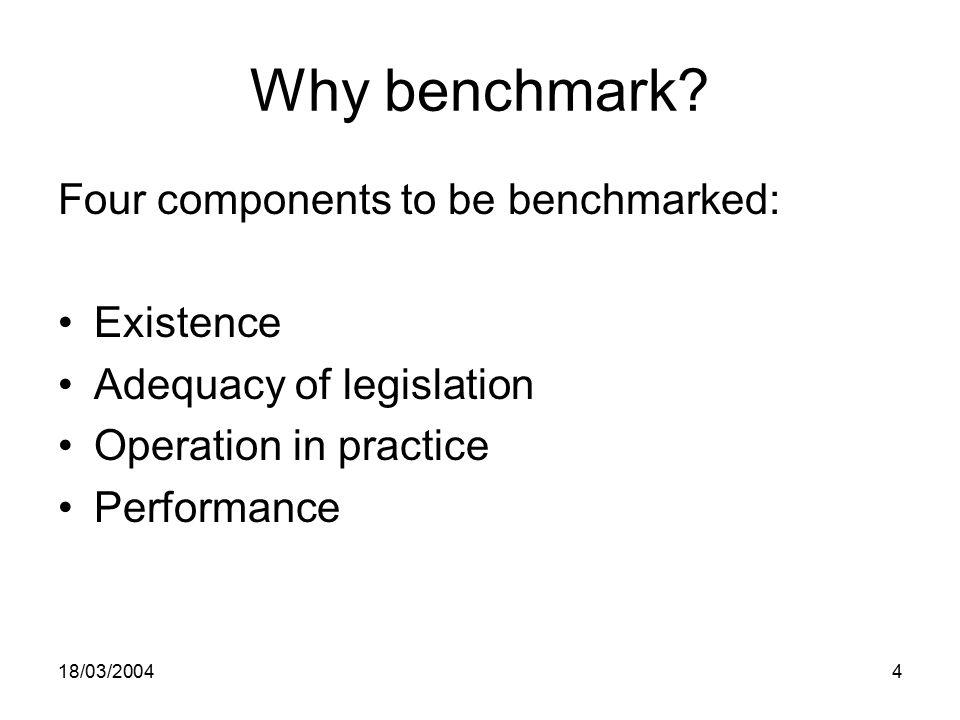 18/03/20044 Why benchmark.