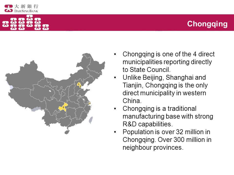 Chongqing Chongqing is one of the 4 direct municipalities reporting directly to State Council.
