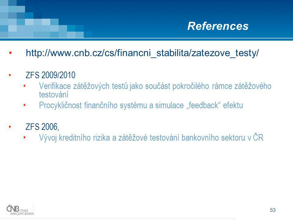 """53 http://www.cnb.cz/cs/financni_stabilita/zatezove_testy/ ZFS 2009/2010 Verifikace zátěžových testů jako součást pokročilého rámce zátěžového testování Procykličnost finančního systému a simulace """"feedback efektu ZFS 2006, Vývoj kreditního rizika a zátěžové testování bankovního sektoru v ČR References"""