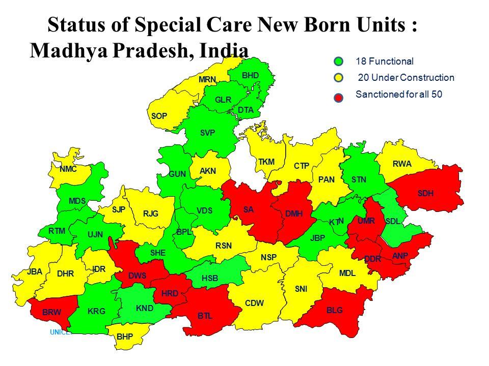 UNICEF BTL SVP SNI SDH SA CDW BLG CTP KRG RSN MDL STN VDS DHR JBA PAN SJP KND DMH SHE SOP UJN RJG SDL DWS JBP HSB GUN RWA TKM NSP MDS KT N DDR AKN BHD IDR GLR MRN RTM ANP BRW UMR NMC HRD BHP BPL DTA 18 Functional 20 Under Construction Status of Special Care New Born Units : Madhya Pradesh, India Sanctioned for all 50