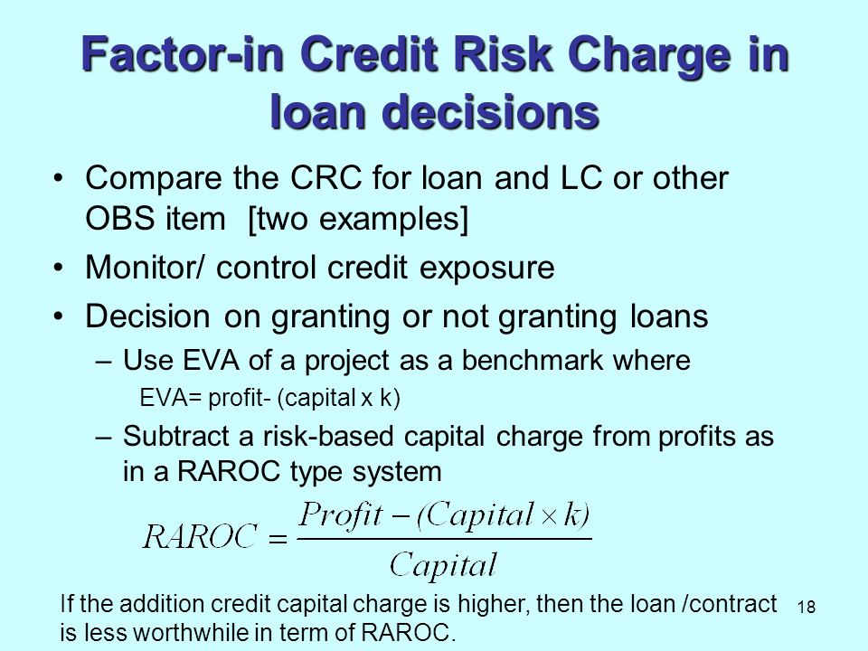 18 Factor-in Credit Risk Charge in loan decisions Compare the CRC for loan and LC or other OBS item [two examples] Monitor/ control credit exposure De