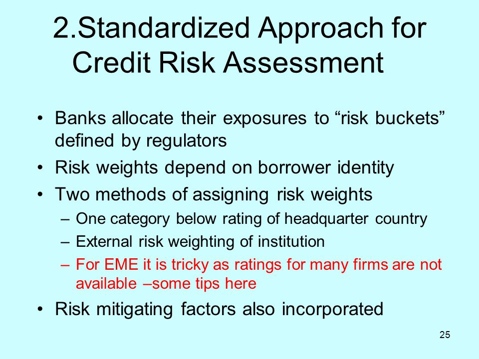 """25 2.Standardized Approach for Credit Risk Assessment Banks allocate their exposures to """"risk buckets"""" defined by regulators Risk weights depend on bo"""