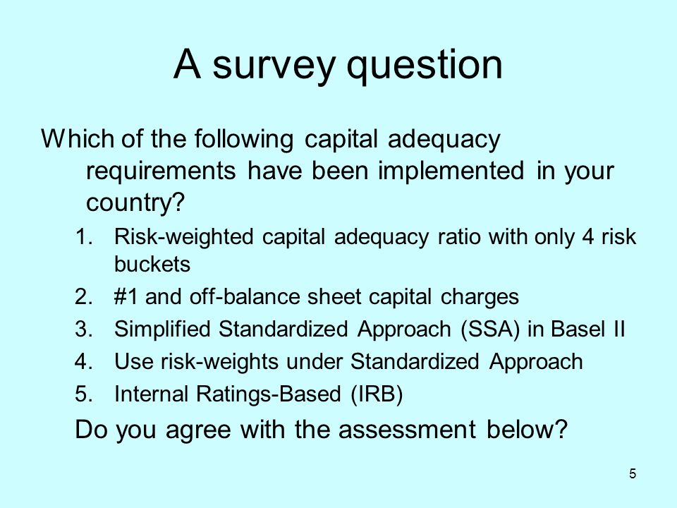 5 A survey question Which of the following capital adequacy requirements have been implemented in your country? 1.Risk-weighted capital adequacy ratio