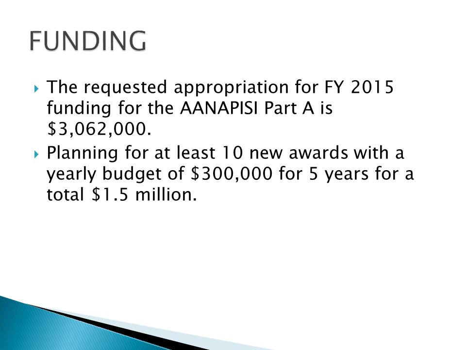  The requested appropriation for FY 2015 funding for the AANAPISI Part A is $3,062,000.  Planning for at least 10 new awards with a yearly budget of