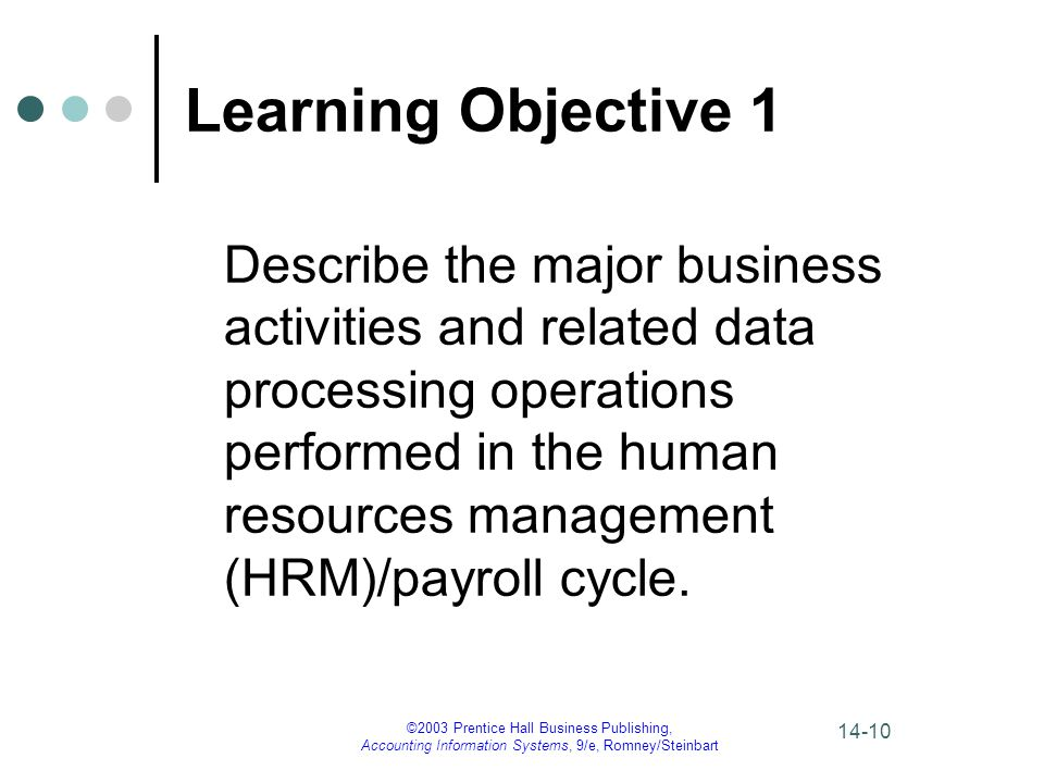 ©2003 Prentice Hall Business Publishing, Accounting Information Systems, 9/e, Romney/Steinbart 14-10 Learning Objective 1 Describe the major business
