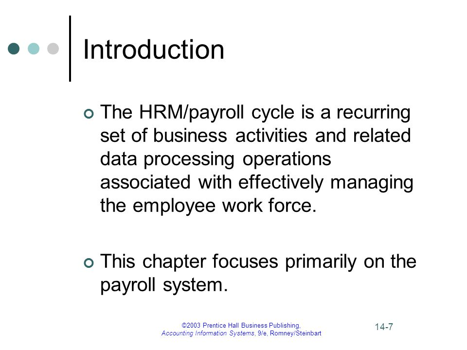 ©2003 Prentice Hall Business Publishing, Accounting Information Systems, 9/e, Romney/Steinbart 14-7 Introduction The HRM/payroll cycle is a recurring