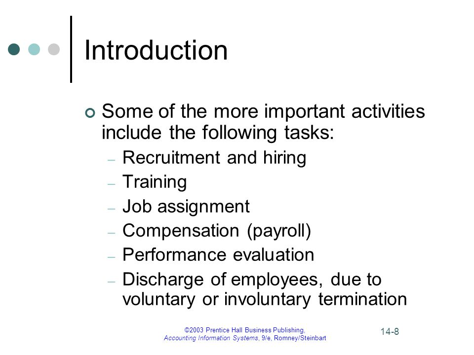 ©2003 Prentice Hall Business Publishing, Accounting Information Systems, 9/e, Romney/Steinbart 14-9 Introduction The three basic functions the AIS provides in the HRM/payroll cycle are: 1.