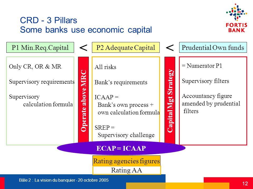 Bâle 2 : La vision du banquier - 20 octobre 2005 12 CRD - 3 Pillars Some banks use economic capital Rating agencies figures Rating AA P1 Min.Req.Capit