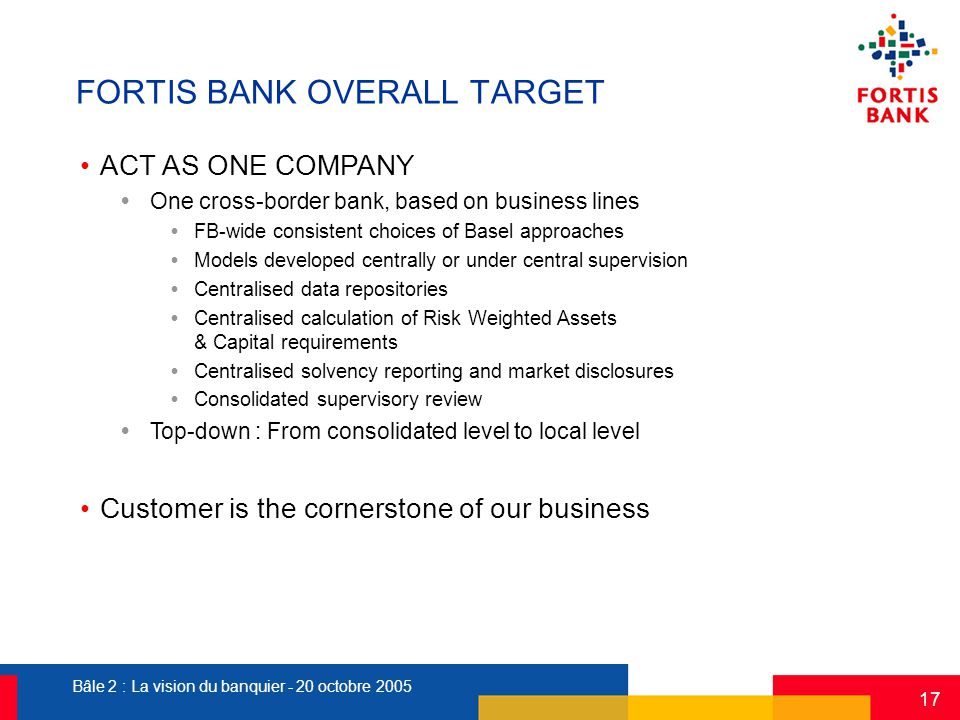 Bâle 2 : La vision du banquier - 20 octobre 2005 17 FORTIS BANK OVERALL TARGET ACT AS ONE COMPANY  One cross-border bank, based on business lines  F
