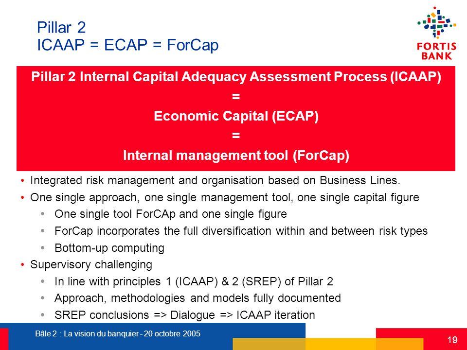 Bâle 2 : La vision du banquier - 20 octobre 2005 19 Pillar 2 ICAAP = ECAP = ForCap Pillar 2 Internal Capital Adequacy Assessment Process (ICAAP) = Eco