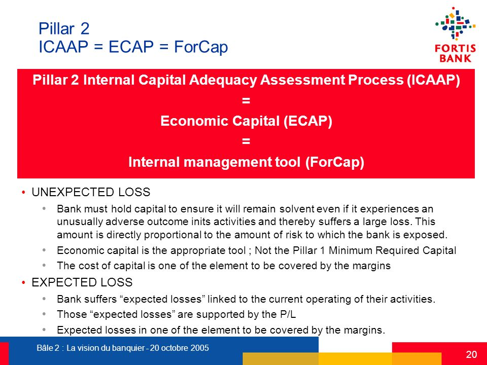 Bâle 2 : La vision du banquier - 20 octobre 2005 20 Pillar 2 ICAAP = ECAP = ForCap Pillar 2 Internal Capital Adequacy Assessment Process (ICAAP) = Eco