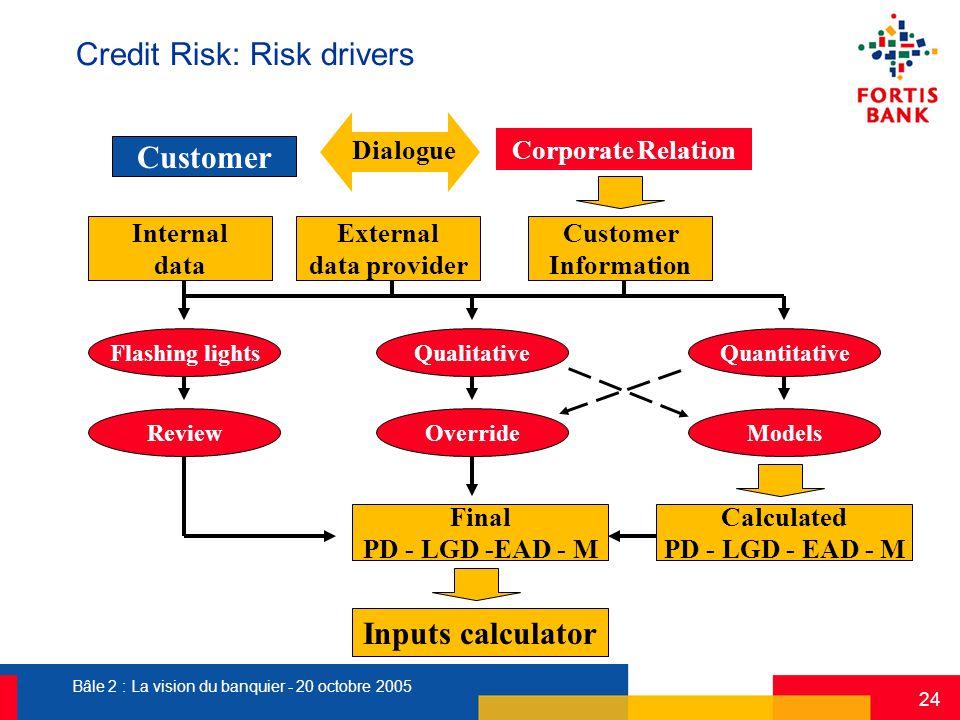 Bâle 2 : La vision du banquier - 20 octobre 2005 24 Dialogue Customer Information Corporate Relation Inputs calculator Credit Risk: Risk drivers Quali