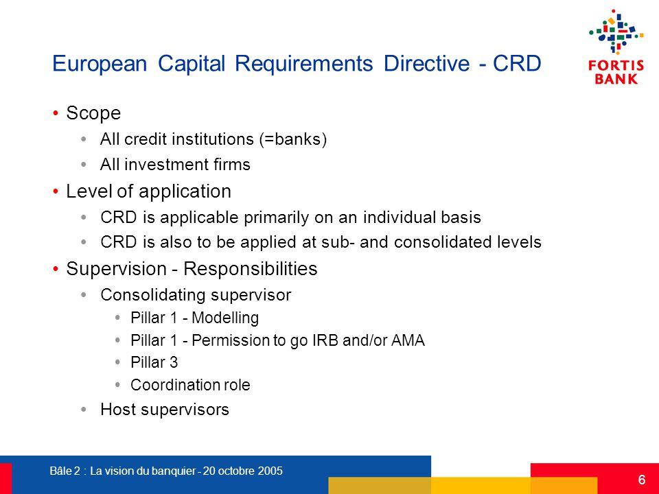 Bâle 2 : La vision du banquier - 20 octobre 2005 6 European Capital Requirements Directive - CRD Scope  All credit institutions (=banks)  All invest