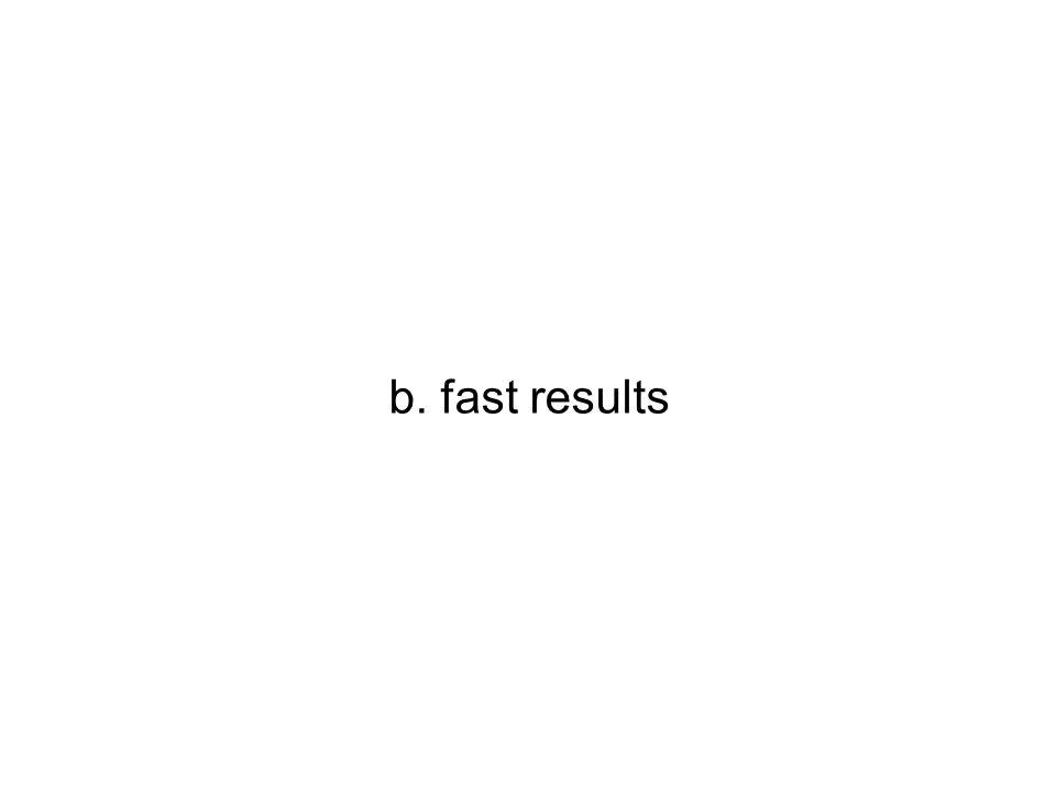 b. fast results