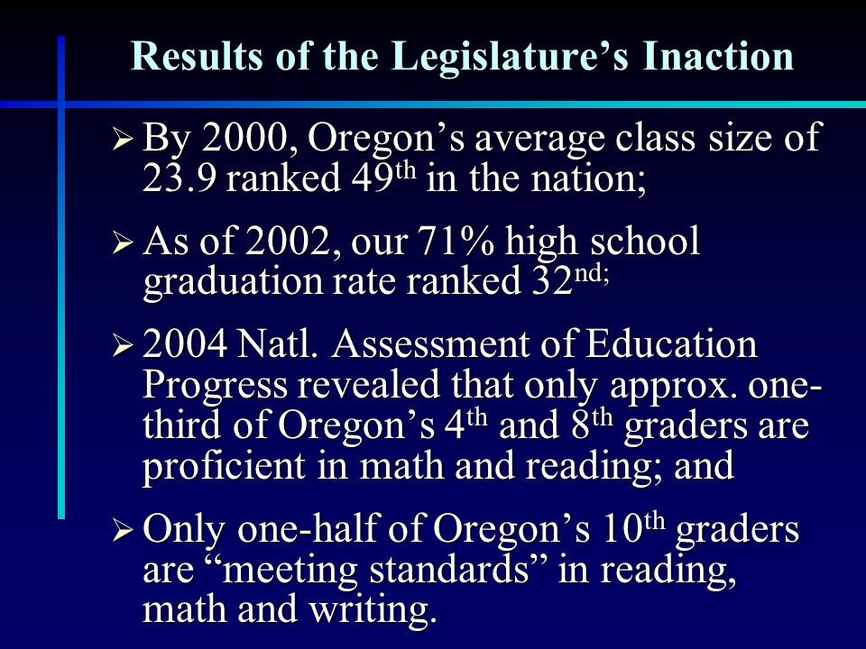 Results of the Legislature's Inaction  By 2000, Oregon's average class size of 23.9 ranked 49 th in the nation;  As of 2002, our 71% high school graduation rate ranked 32 nd;  2004 Natl.