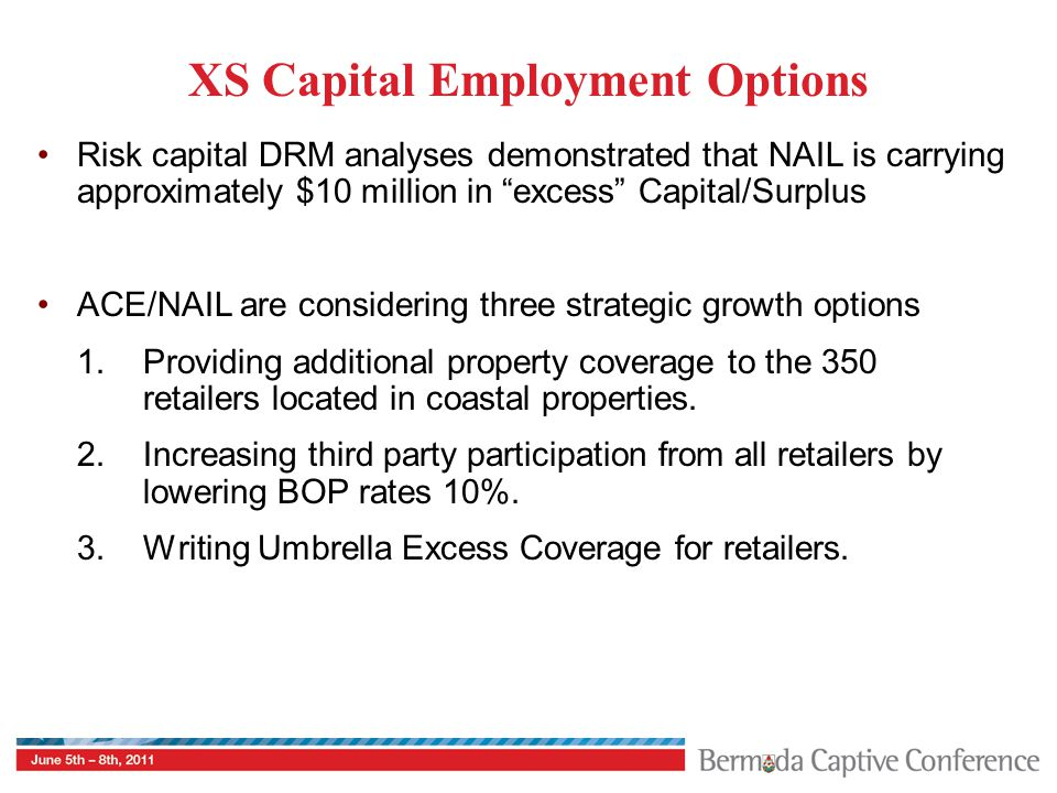 XS Capital Employment Options Risk capital DRM analyses demonstrated that NAIL is carrying approximately $10 million in excess Capital/Surplus ACE/NAIL are considering three strategic growth options 1.Providing additional property coverage to the 350 retailers located in coastal properties.