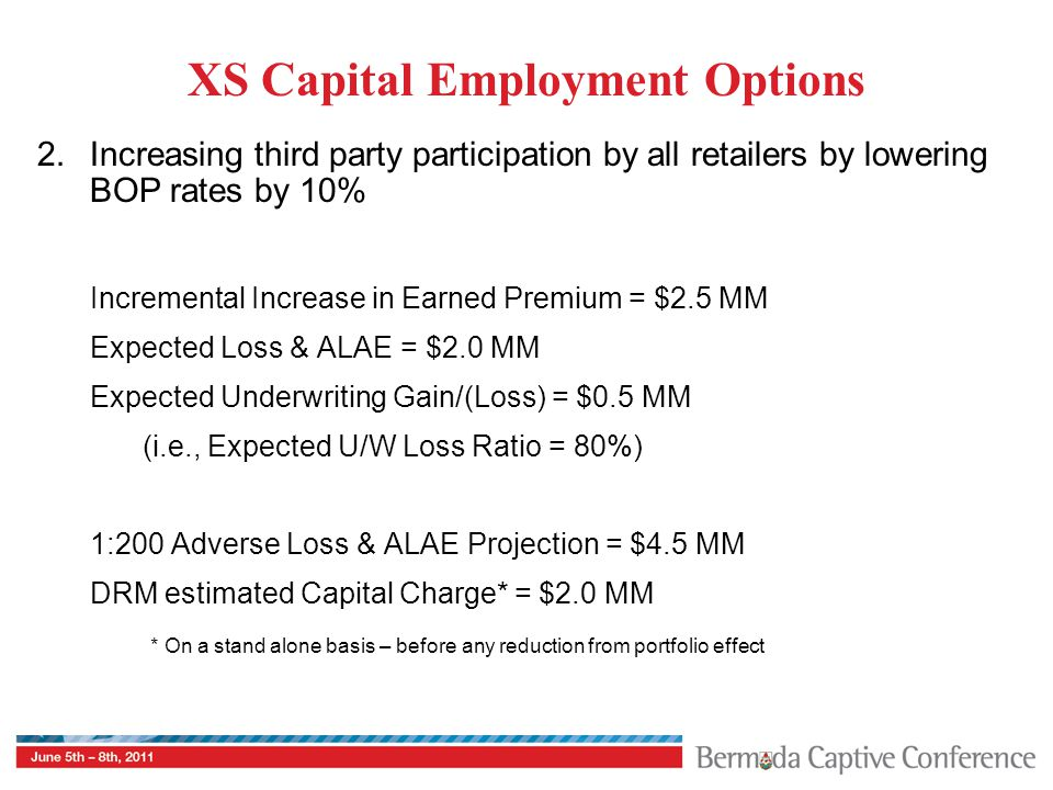 XS Capital Employment Options 2.Increasing third party participation by all retailers by lowering BOP rates by 10% Incremental Increase in Earned Prem