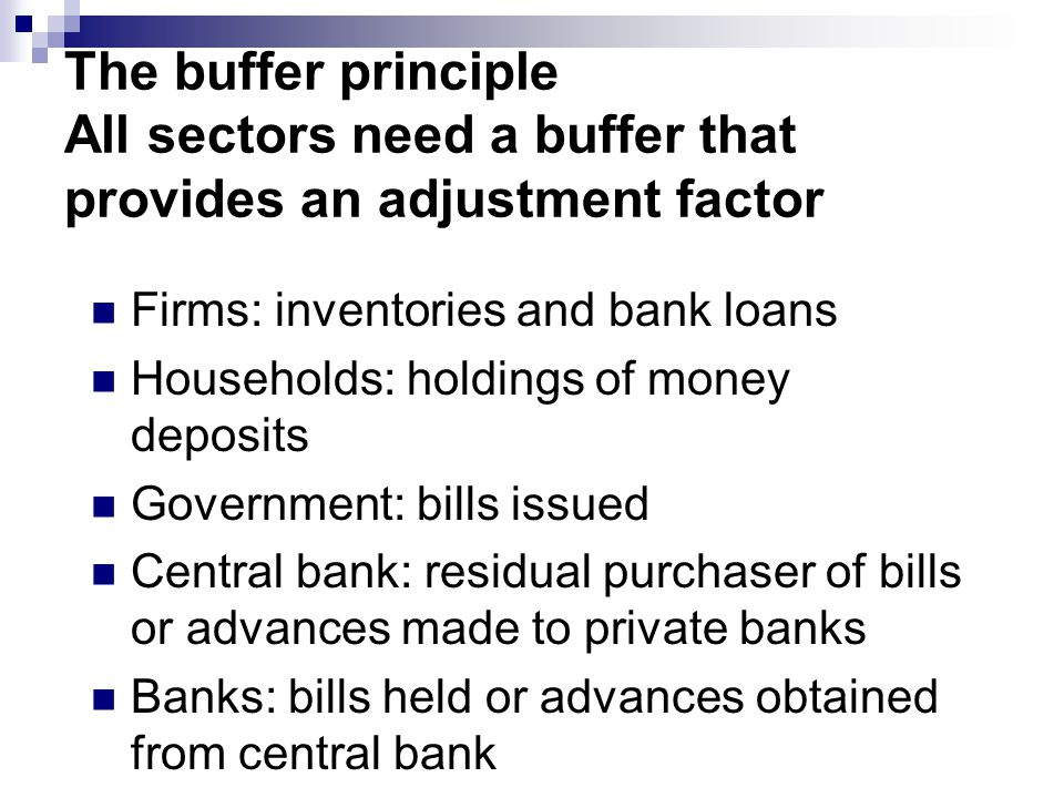 The buffer principle All sectors need a buffer that provides an adjustment factor Firms: inventories and bank loans Households: holdings of money deposits Government: bills issued Central bank: residual purchaser of bills or advances made to private banks Banks: bills held or advances obtained from central bank