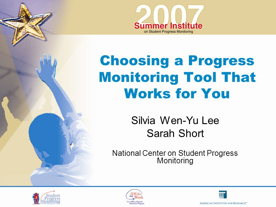 Note About This Presentation  Although we use progress monitoring measures in this presentation to illustrate methods, we are not recommending or endorsing any specific product.