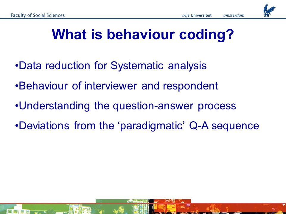 What is behaviour coding.