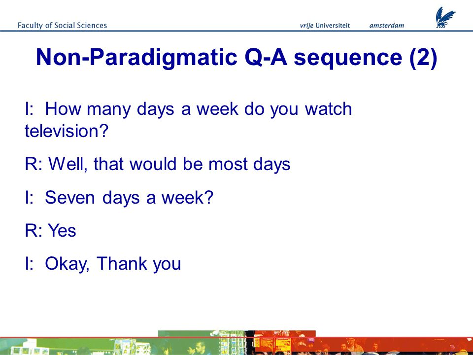 Non-Paradigmatic Q-A sequence (2) I: How many days a week do you watch television.