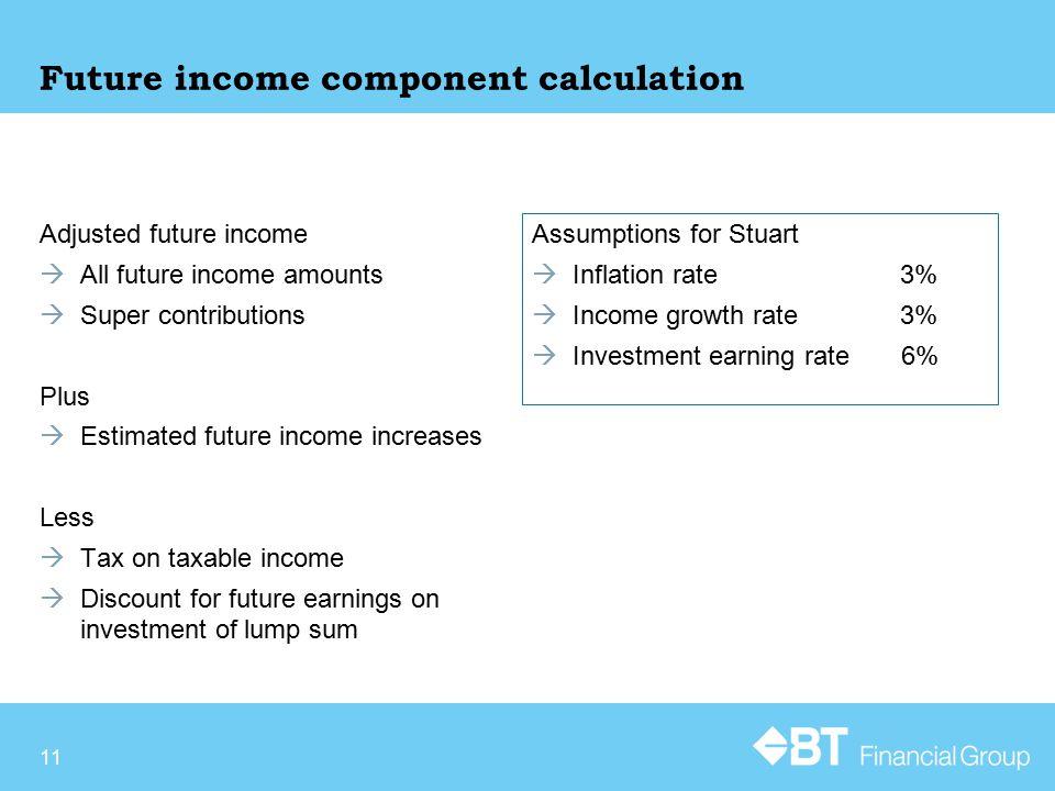 Future income component calculation Adjusted future income  All future income amounts  Super contributions Plus  Estimated future income increases