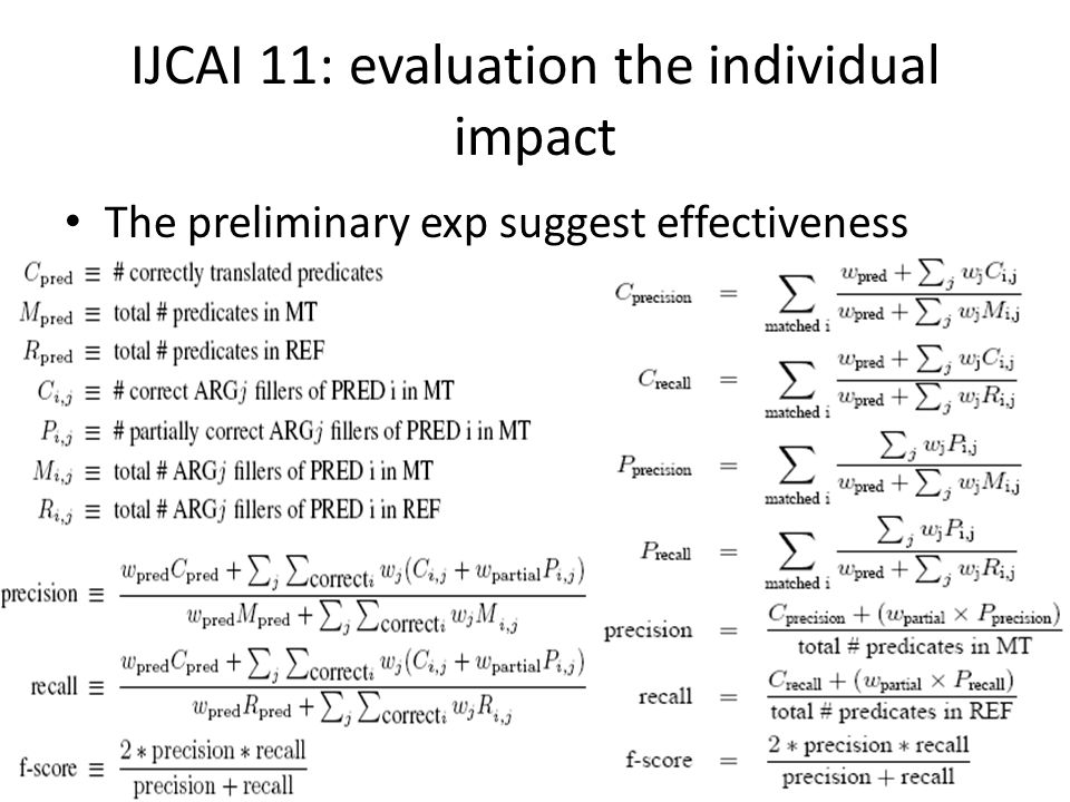IJCAI 11: evaluation the individual impact The preliminary exp suggest effectiveness