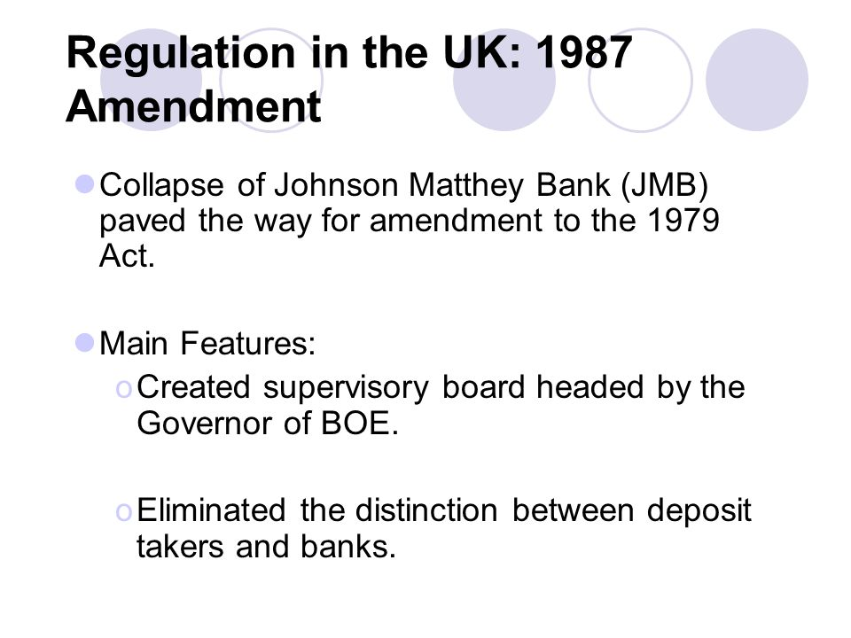 Regulation in the UK: 1987 Amendment Collapse of Johnson Matthey Bank (JMB) paved the way for amendment to the 1979 Act.