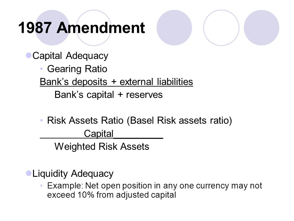 1987 Amendment Capital Adequacy Gearing Ratio Bank's deposits + external liabilities Bank's capital + reserves Risk Assets Ratio (Basel Risk assets ratio) Capital_________ Weighted Risk Assets Liquidity Adequacy Example: Net open position in any one currency may not exceed 10% from adjusted capital