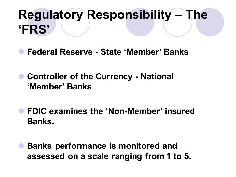 Regulatory Responsibility – The 'FRS' Federal Reserve - State 'Member' Banks Controller of the Currency - National 'Member' Banks FDIC examines the 'Non-Member' insured Banks.