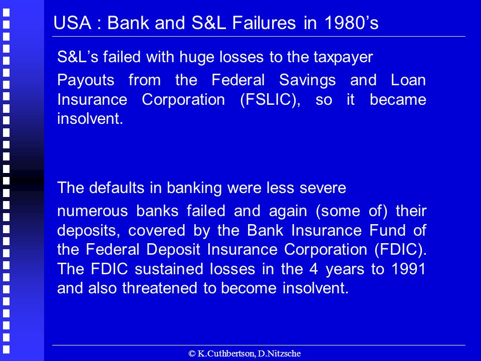 © K.Cuthbertson, D.Nitzsche USA : Bank and S&L Failures in 1980's S&L's failed with huge losses to the taxpayer Payouts from the Federal Savings and Loan Insurance Corporation (FSLIC), so it became insolvent.