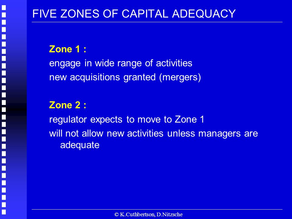 © K.Cuthbertson, D.Nitzsche FIVE ZONES OF CAPITAL ADEQUACY Zone 1 : engage in wide range of activities new acquisitions granted (mergers) Zone 2 : regulator expects to move to Zone 1 will not allow new activities unless managers are adequate