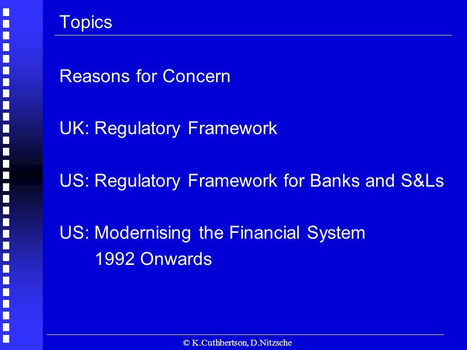 © K.Cuthbertson, D.Nitzsche Topics Reasons for Concern UK: Regulatory Framework US: Regulatory Framework for Banks and S&Ls US: Modernising the Financial System 1992 Onwards