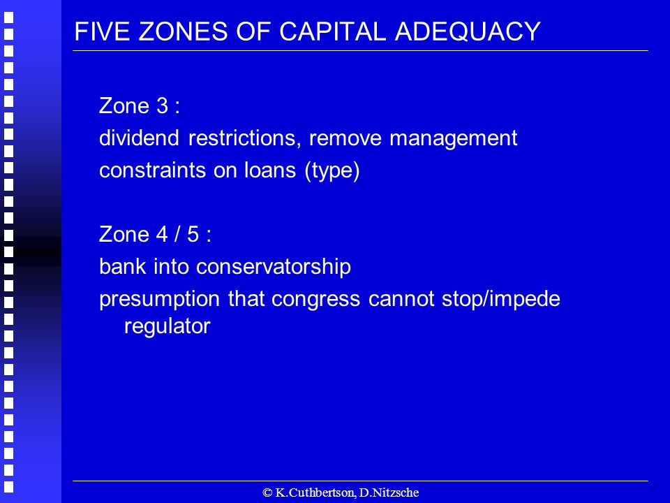 © K.Cuthbertson, D.Nitzsche Zone 3 : dividend restrictions, remove management constraints on loans (type) Zone 4 / 5 : bank into conservatorship presumption that congress cannot stop/impede regulator FIVE ZONES OF CAPITAL ADEQUACY
